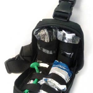 Bolsa Molle de pierna con contenido de ejemplo para mostrar capacidad