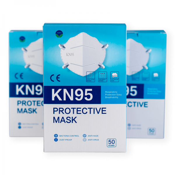 Vista frontal de la caja de mascarillas FFP2 KN95 de 50 unidades